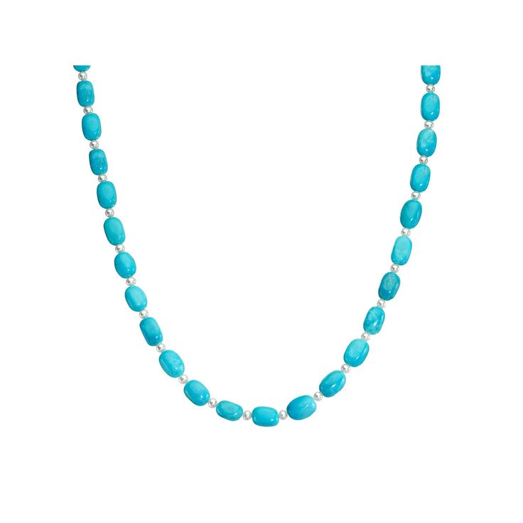 "Sterling Silver Turquoise Bead & Freshwater Cultured Pearl Necklace, Women's, Size: 18"", Blue"