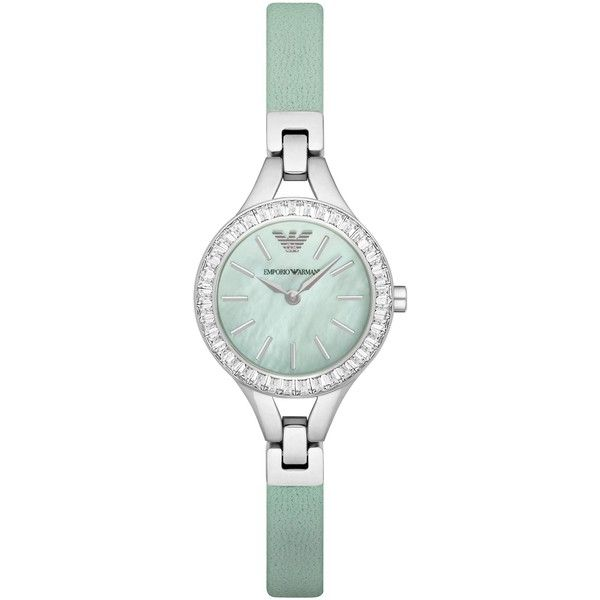 Emporio Armani Watch ($280) ❤ liked on Polyvore featuring jewelry, watches, light green, polish jewelry, dial watches, leather strap watches, emporio armani watches and emporio armani jewelry