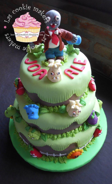 PLANTS VS ZOMBIES CAKE plantas vs zombies torta lascookiemakers@gmail.com