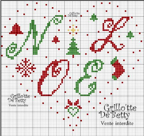 noël - christmas - coeur - point de croix - cross stitch - Blog : http://broderiemimie44.canalblog.com/