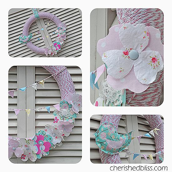 Spring Wreath using baker's twine, fabric flowers, and a fabric bird (pattern for bird and instructions included)