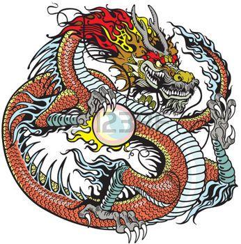 дракон: китайский дракон держит жемчужину , татуировки иллюстрация иллюстрация