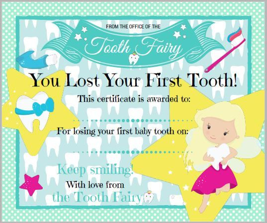 Group of Tooth Fairy Certificate First