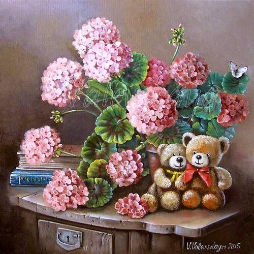Картины (живопись) : Герань и медвежата