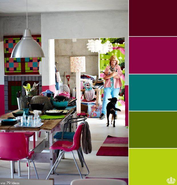 Paleta de cores alegre para sala de jantar