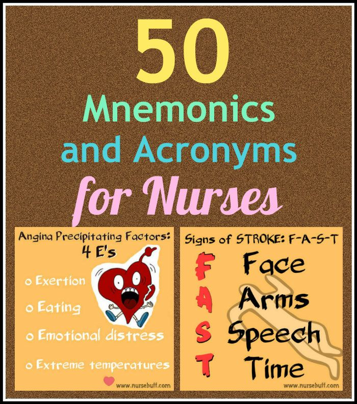 50 Nursing mnemonics and acronyms (Biology)
