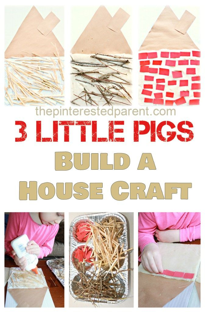 Three Little Pigs kid's Craft & activity - Build a straw, stick & brick house. Use straw, watercolor stained toothpicks and sand paper. Make marshmallow stamped pigs. Number pigs to sequence houses.