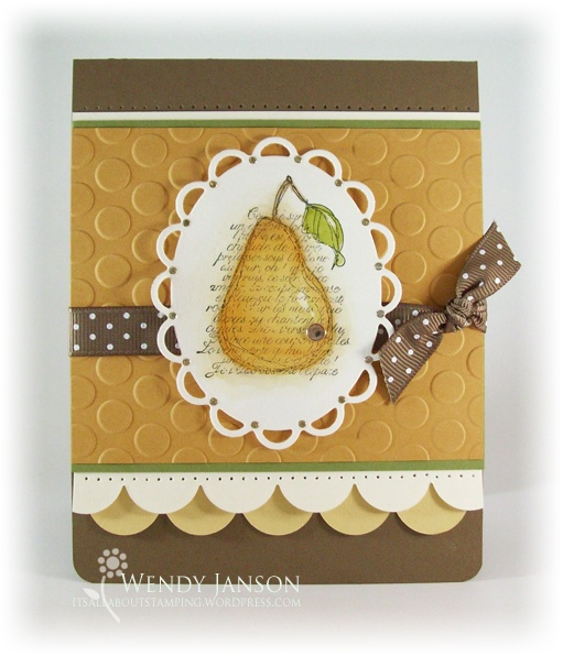 Stamps:  Faith in Nature  Paper:  Soft Suede, More Mustard, Very Vanilla, So Saffron, Old Olive  Ink:  Jet Black Stazon,  Reinkers:  More Mustard, Soft Suede, Old Olive,  Accessories:  Rhinestone, Mat Pack/Paper Piercer, Soft Suede ribbon, Nestabilities, Med Scallop Die, Embossing Folder,