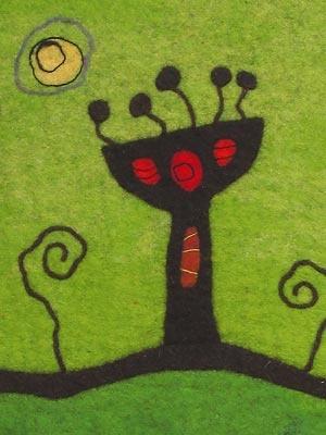 Karoliina Arvilommi tekstiilitaiteilija   yksityiskohtaseinätekstiilistä, 120cm x 80cm Suomenlampaan villa, märkähuovutus Kuva: Karoliina Arvilommi