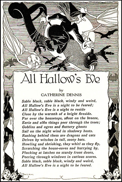 All Hallow's Eve--Black and White--Vintage Halloween Illustration--Child Life Magazine