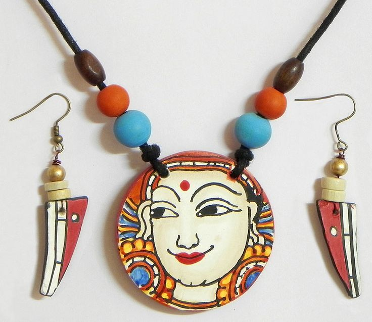 Mural Painting on Pendant and Earrings with Black Cord (Wood)