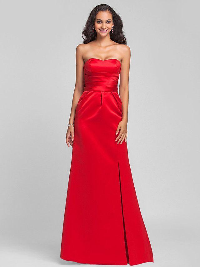 Lanting Bride® Strascico a terra Raso Con stringhe Vestito da damigella - A tubino Senza spalline / A cuore Taglia forte / Minuta con - EUR €55.85