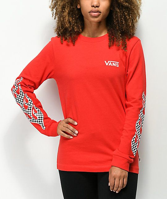 5085ef01 Vans Flame Checkerboard Red Long Sleeve T-Shirt in 2019 | Extra ass ...