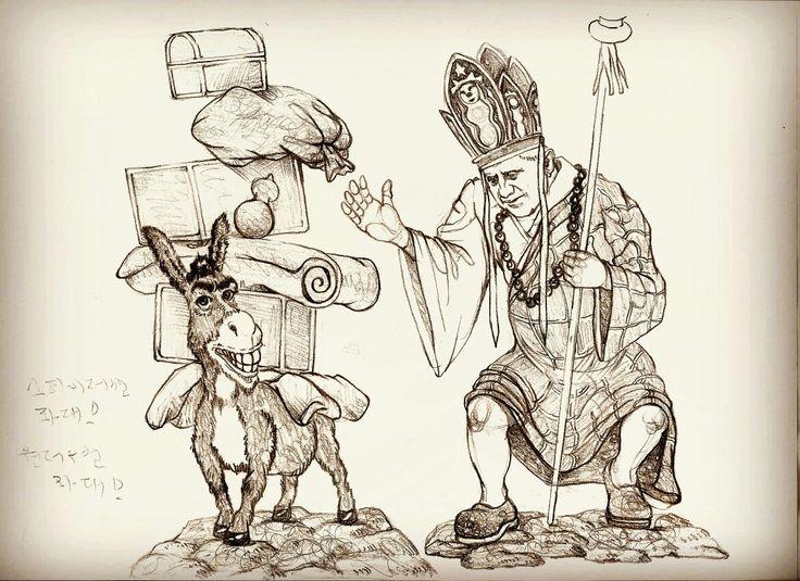 #유영운 #yooyoungwun #artworks #artist #drawing #동키 #donkey #교황 #삼장법사 #베네딕토16세 #benedictus #드로잉