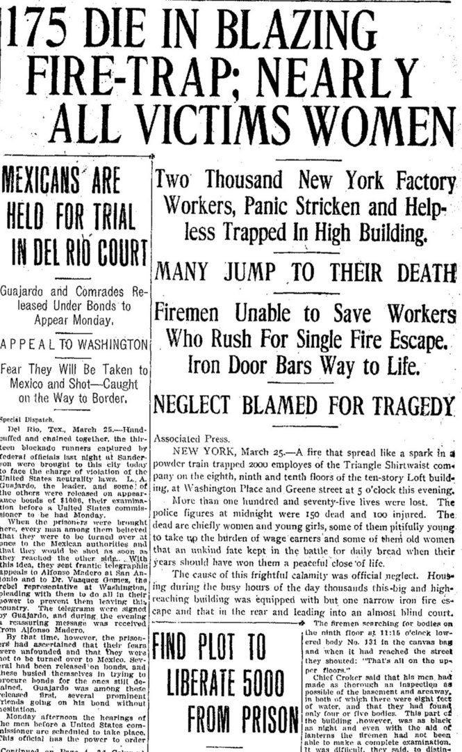 Triangle Shirtwaist factory fire made headlines across the nation.  This is from The Times Picayune in New Orleans