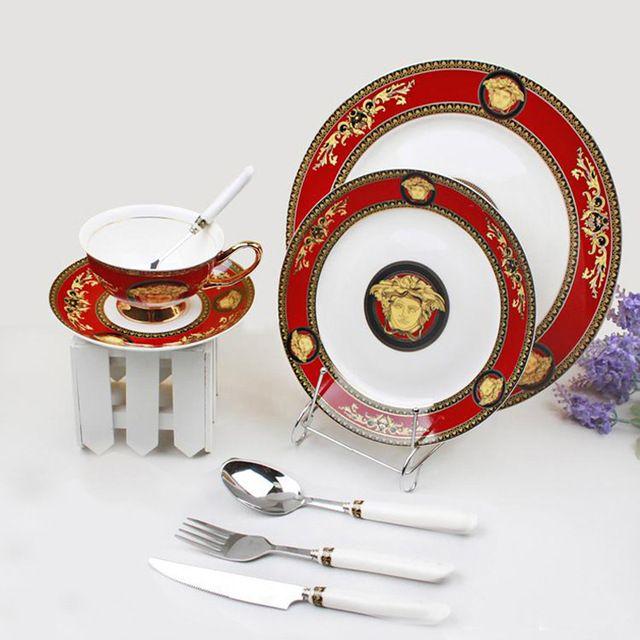 Роскошные Известная Марка Дизайн Костяного Фарфора Набор Посуды Керамическая Посуда С Чашки, Вилки, Ножи