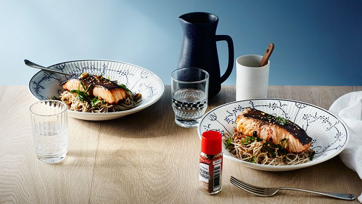 Japanese miso salmon and soba noodles