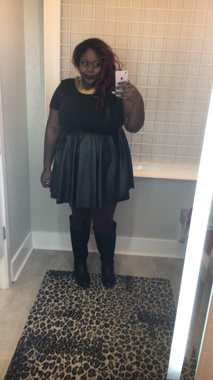 Work ootd: Black 2 textured skater dress + burgundy leggings + high black boots #Torrid