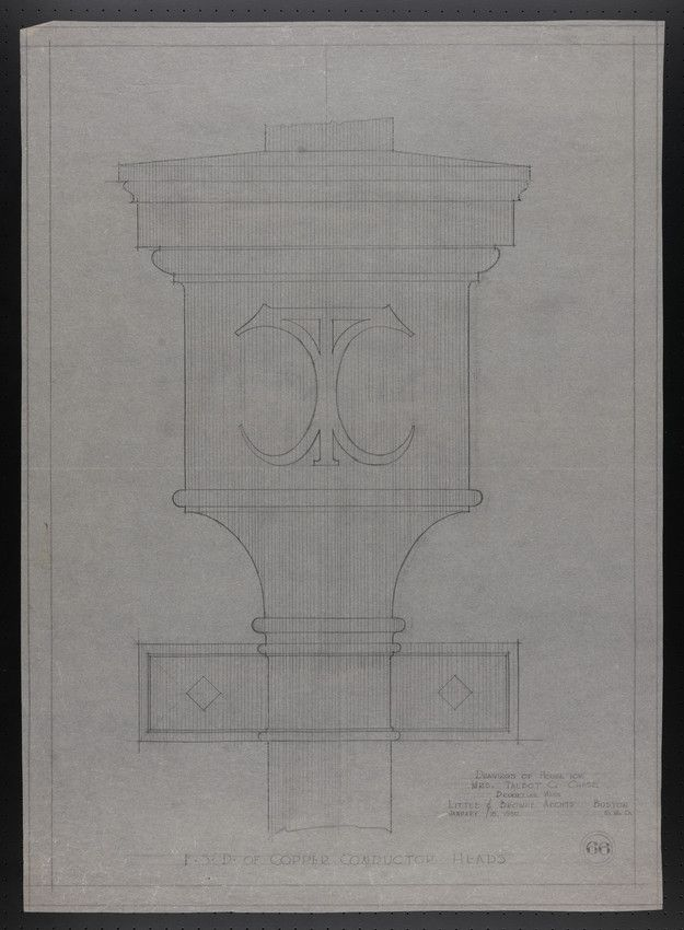 F.S.D. of Copper Conductor Heads, Drawings of House for Mrs. Talbot C. Chase, Brookline, Mass., January 15, 1930 | Historic New England