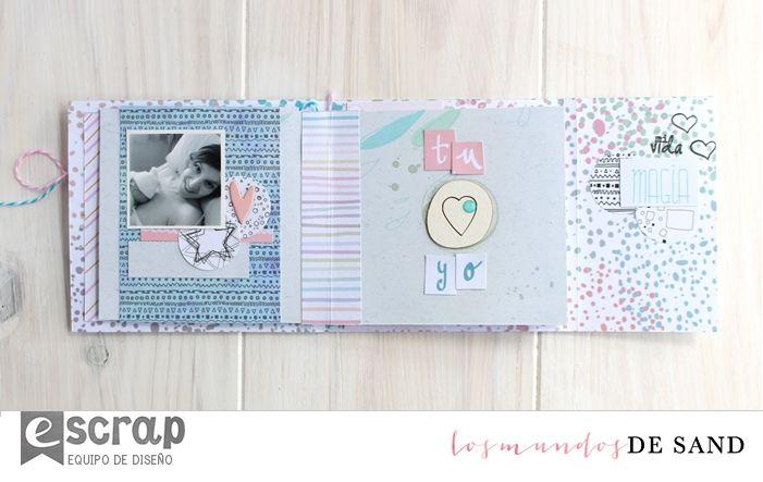 Mini álbum bebé por Los Mundos de Sand para #escrap con #pirueta