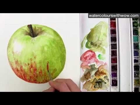 How to paint a red and green apple without making brown - in watercolor - by Anna Mason - YouTube