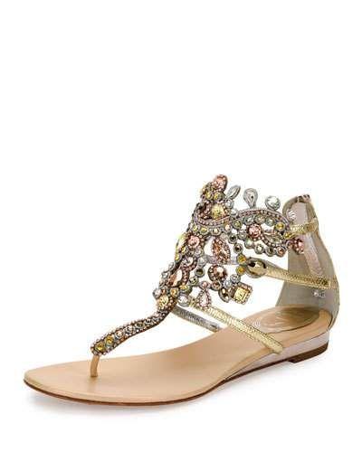 X3C6S Rene Caovilla Jewel-Embellished Flat Thong Sandal, Platinum/Rose Gold