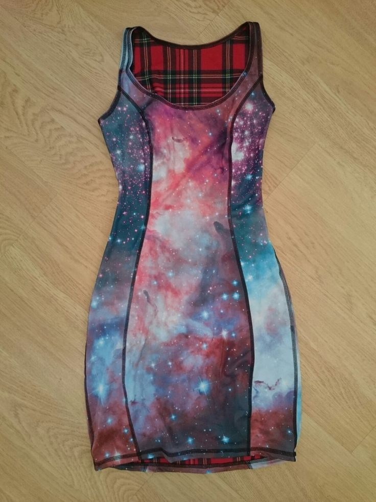 Unreleased galaxy vs red tartan bodycon IOD from the Nov 16 Black Milk Clothing sample sale