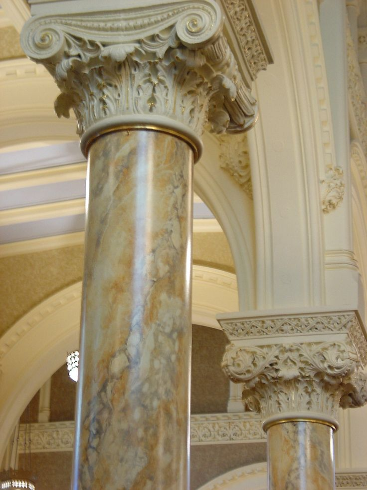 Ordinary Faux Painted Columns Part - 2: Painted Faux Marble Finish On Columns In Church Interior