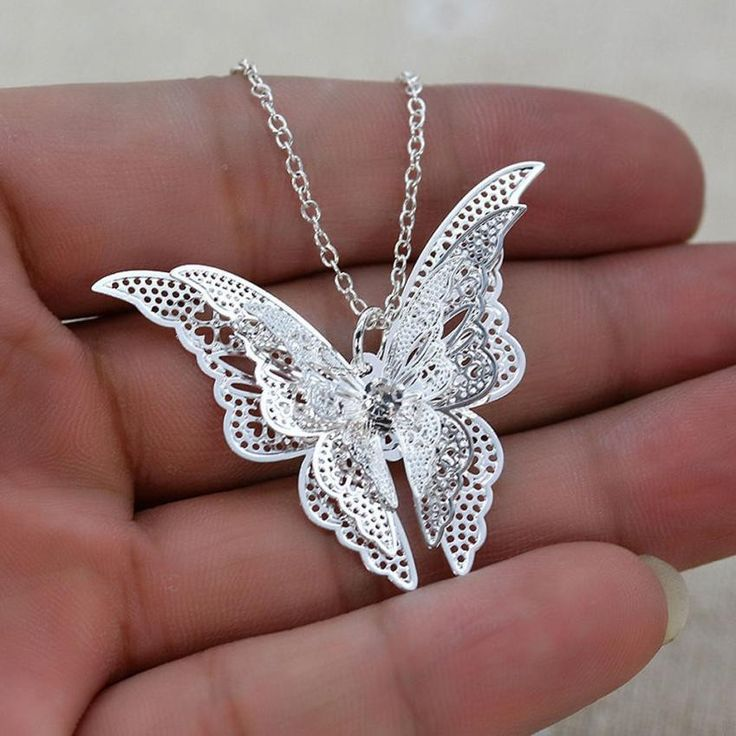 """20"""" open link butterfly pendant lace design chain with 2"""" extender"""