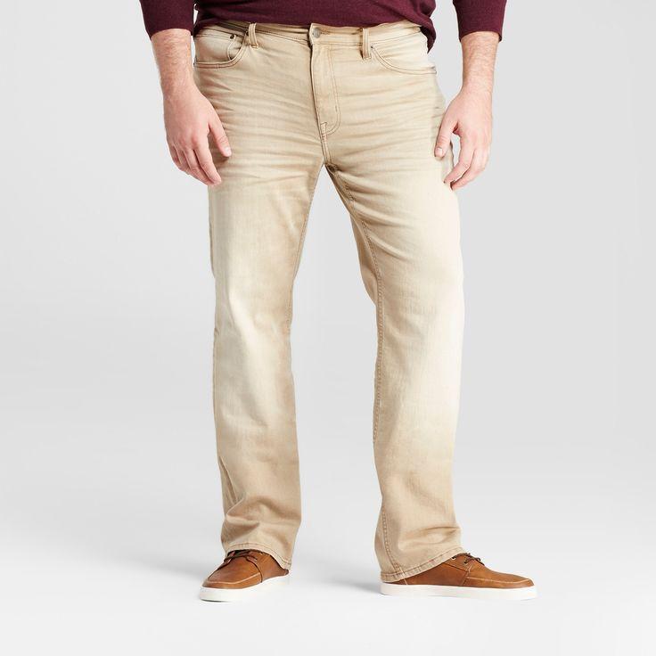 Men's Big & Tall Slim Straight Fit Jeans - Goodfellow & Co Khaki 52x32, Beige