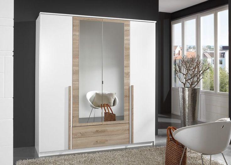 Kleiderschrank 180,0 cm Weiß Eiche Sägerau 5004. Buy now at https://www.moebel-wohnbar.de/kleiderschrank-180-0-cm-weiss-eiche-saegerau-5004.html
