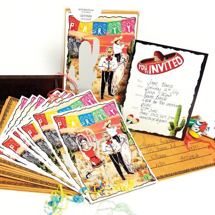 Fiesta Scratchie Card Party Invitations