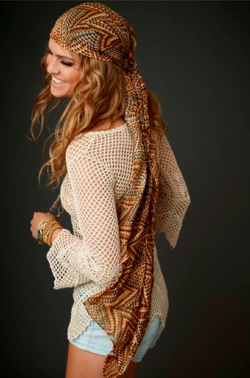 Cute hippie headscarf, sexy crocheted top & cutoffs. Casual boho perfection. Eternal Sunshine Creations Holiday 2014 collection.