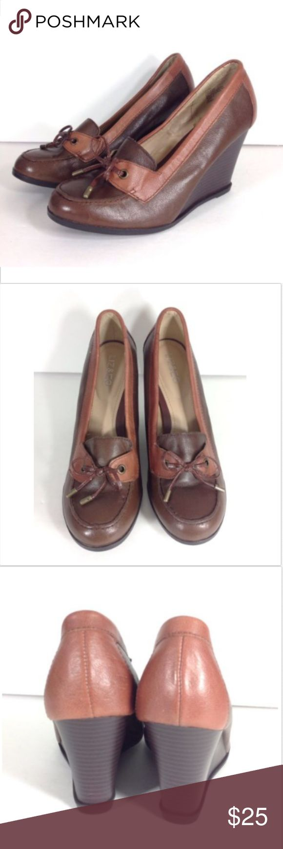 Liz & Co Color Block Wedge Loafers LIZ & CO Women's Size 10 Medium Brown Loafer Wedges Leather Upper Round Toe Bow Trim Liz and Co Shoes Wedges