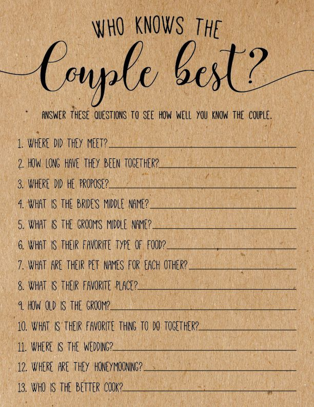 Who Knows the Couple Best? Bridal Shower Game