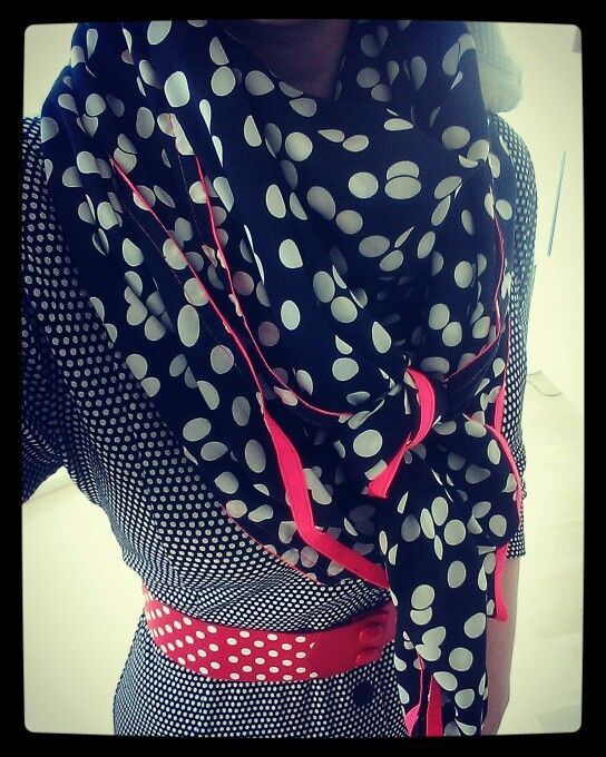 Dots on dots on dots!  WEIZ Copenhagen Gyda dress with red Waist belt and dotted scarf.