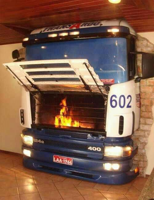 Amazing fireplace for any man cave! Made from an old bus front.