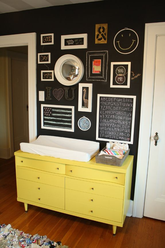 Black Wall Yellow Dresser Wall Art Nursery idea of magnetic paint behind