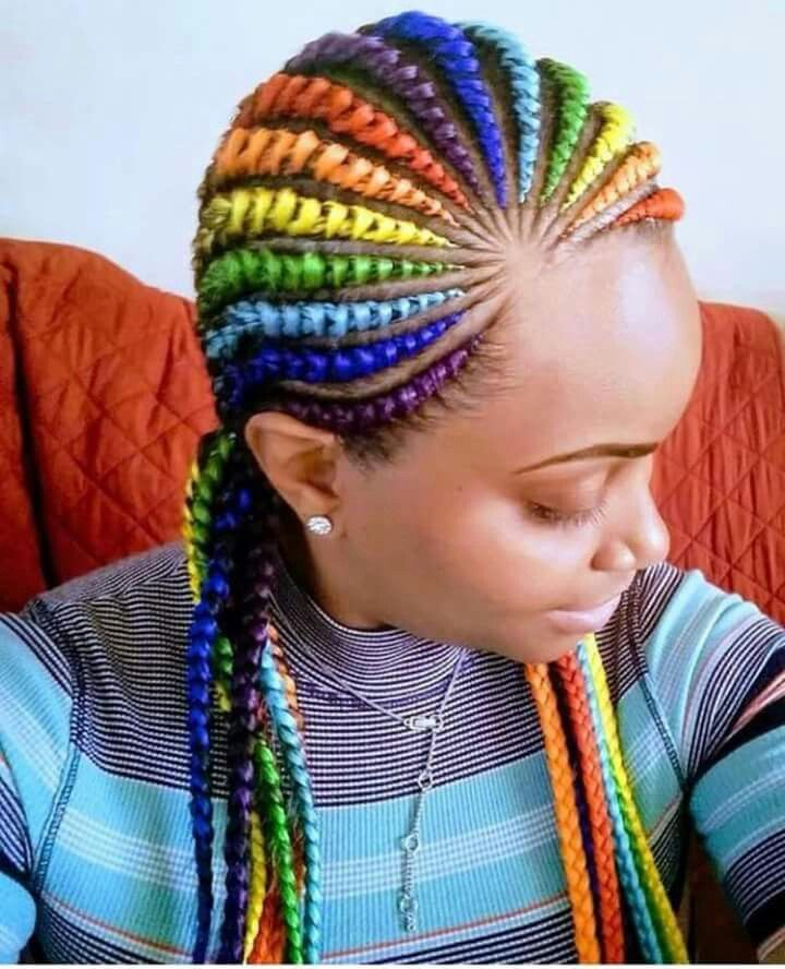 Rainbow Braids Ms 169 Urry In 2019 Braided Hairstyles