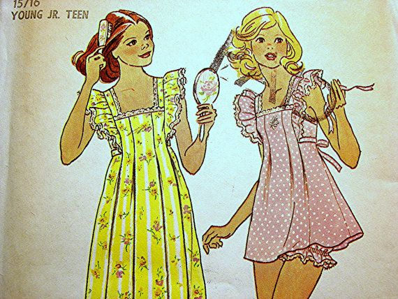 Vintage Simplicity 1970s Misses Nightgown Pattern Baby Doll Pajamas with Panties size 15 16 UNCUT