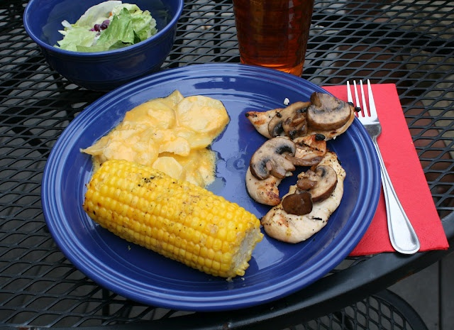 Grilled cheesy potatoes and corn on the cob!!