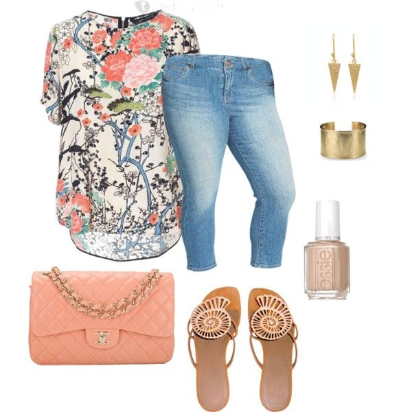 plus size spring/summer simply cute by kristie-payne on Polyvore featuring Lucky Brand, Hermès, Chanel, Blue Nile and Essie