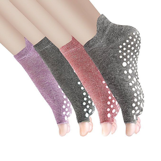 Amazon.com: Yoga Socks Non Slip Skid Pilates Barre with Grips for Women 4 Pack by Cosfash,Toeless Multicoloured(cotton),One size(Women's shoe size 5-9): Clothing