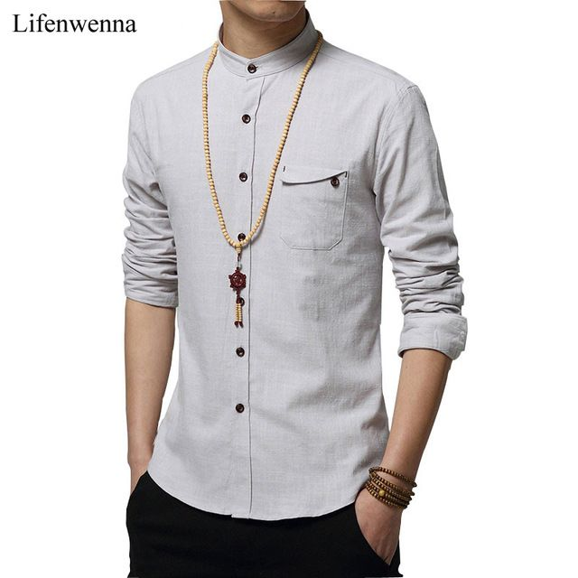 Promotion price 2017 Autumn New Casual Mens Long Sleeve Cotton Shirt Fashion Solid Stand Collar Shirt Men High Quality Slim Mens Work Shirt 5XL just only $14.38 with free shipping worldwide  #shirtsformen Plese click on picture to see our special price for you