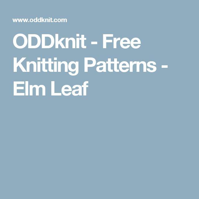 ODDknit - Free Knitting Patterns - Elm Leaf