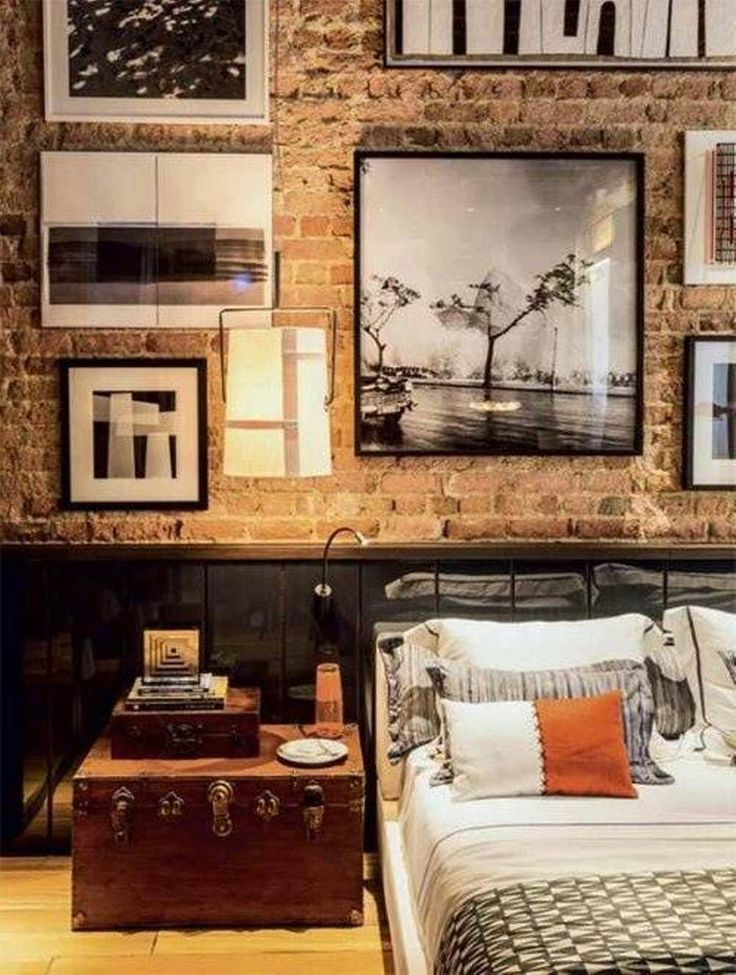 Masculine Bedrooms for Men. Hints for men: dark iron, dark wood, black and white photos, and a splash of subtle color on a pillow or in a photo