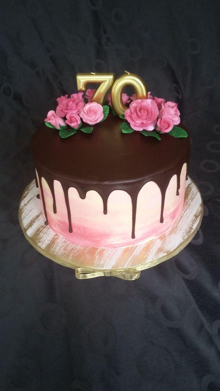70 Geburtstagstorte Torte 70 Ans Aquarell Ombre Effekt