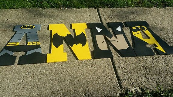 Sale/Wood Nursery Name Letters Batman/ Price is Per by 6amwithAeri
