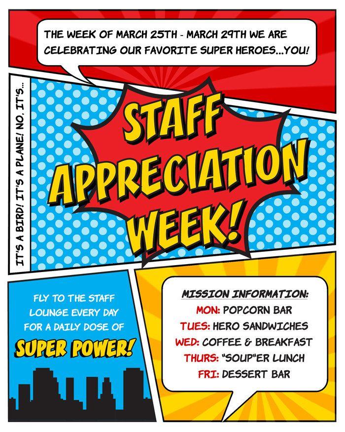 Superhero Invitation Teacher Or Staff Appreciation Week