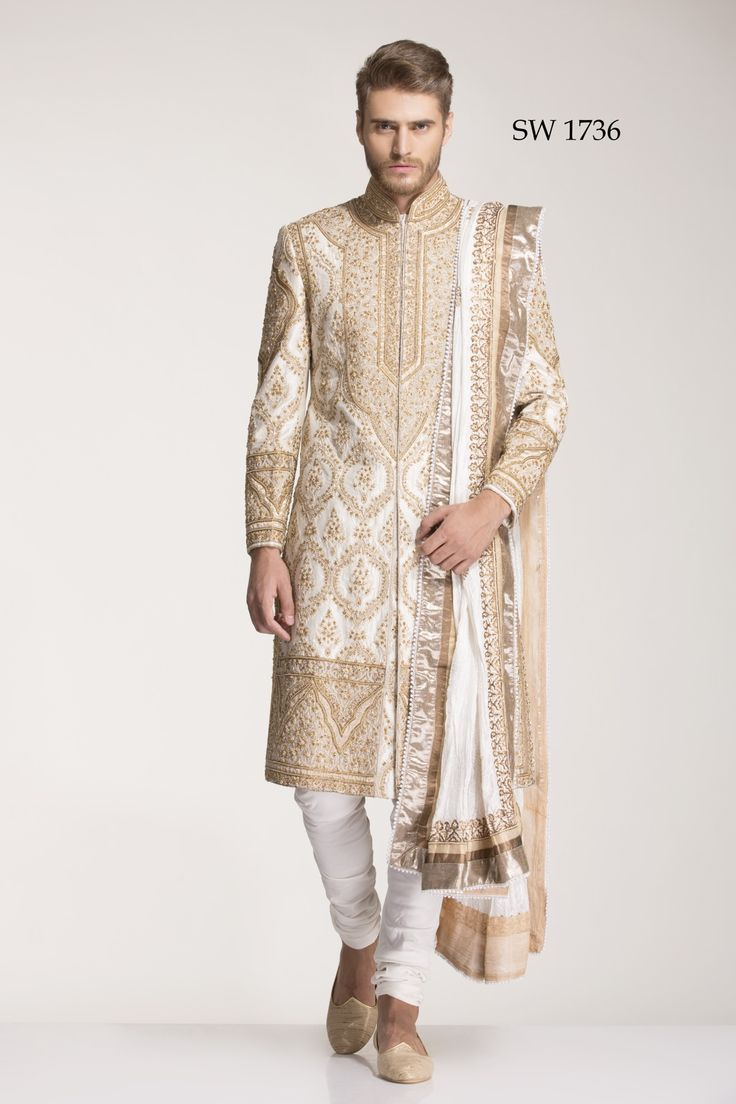 Diwan Saheb Off White Silk Embroidered Sherwani